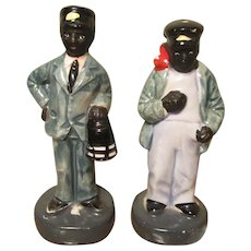 Black Americana Porcelain Railway Men Salt & Pepper Shakers