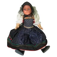 "Han Volk 22"" German Jointed Vinyl / Celluloid Doll Beautiful Costume"
