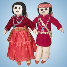 "Navajo Pair Handcrafted Vintage Souvenir Cloth Indian Dolls Bead Sequins 17"" Felt Velvet Yarn"