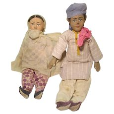 Pair Vintage India Punjab Servant Dolls From Bullock's Department Store Tags