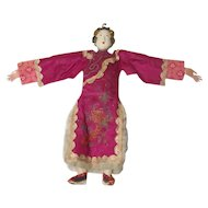 "Chinese 1920's Opera Doll Signed on Neck Beautiful Condition 10"" Tall"