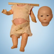 "German Bisque Socket Head Baby Doll Separate Paper Mache Stapled Body 8"" Cabinet Size"