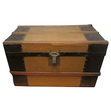 Old  Child's Doll Steamer Trunk With Doll Clothes