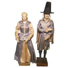 2 Vintage Jamestown Colonists Settlers Plaster Portrait Sculptures Silk Clothing