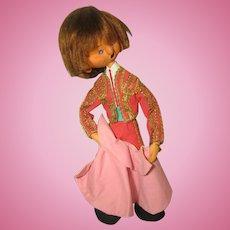 Vintage Felt Matador Doll By Artist Mary Vazquez 1980s Made in Spain