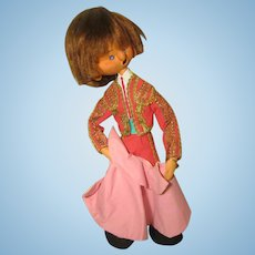Vintage Felt Matador Doll By Artist Mary Vazquez 1980s Made in Spain