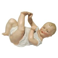 Gebruder Heubach Small Piano Baby Playing With Toes  5 3/4""