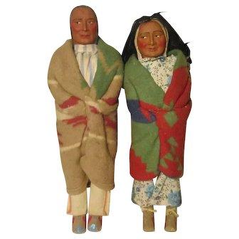 "2 Vintage Skookum Bully Good Native American Indian Dolls W / Labels 16"""