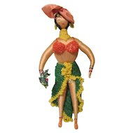 "International Souvenir Spanish Mexican Tango Dancer Doll Wire Wrapped Yarn Stuffed 11"""