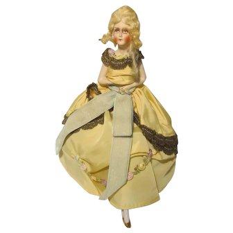 German Half Doll China Legs Mohair Wig Pin Cushion