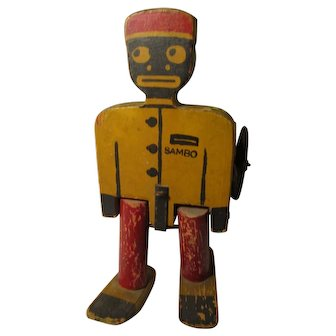 Vintage 1920s Sambo Walking Pull Toy by A Mecky Co