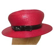Vintage 1950s Straw Hat Dachettes  By Designer Lilly Dache Red Brim Black Patent Band
