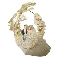ACA Vintage  1940 - 1950s Bride / Groom Wedding Cake Topper Chalkware Chalk Ware