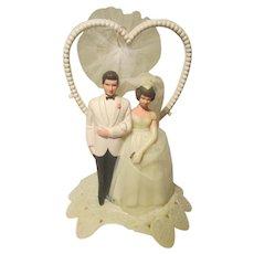 Vintage Wilton Bride / Groom Wedding Cake Topper Celluloid / Plastic