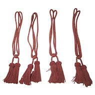 4 French Drapery Tiebacks W / Tassels Light Dusty Rose