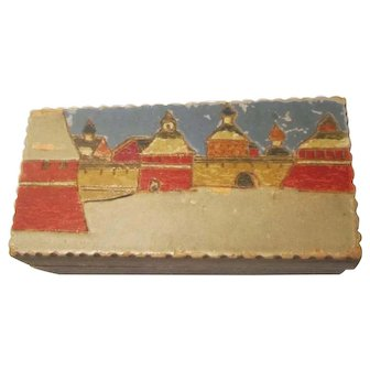 Soviet Union Russia Hand Painted Etched Trinket Wood Box
