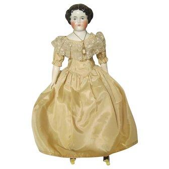 "German China Shoulder Head Doll Center Part Nicely Dressed 19"""