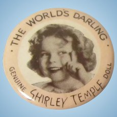"""Original 1930's Ideal Toys Shirley Temple Pin """"The World's Darling"""""""