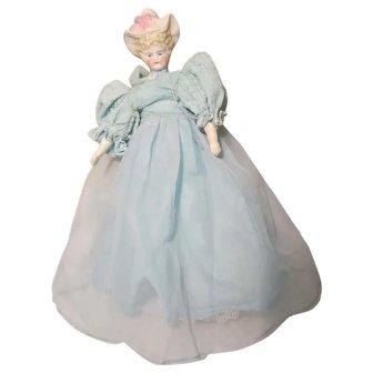 """German Bonnet head Blonde Parian Bisque Shoulderhead Doll 10 1/2"""""""