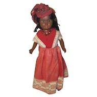 French SFBJ Paris Paper Mache / Composition Caribbean / Island Brown Doll