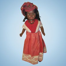 French SFBJ Paris Paper Mache / Composition Caribbean / Island Brown Doll