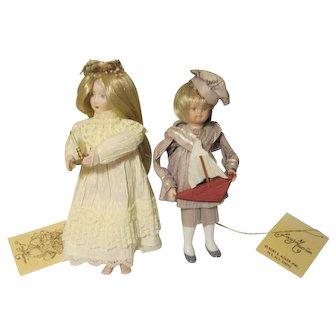 Kurt Adler Jocelyn Mostrom Bisque / Paper Ornaments Adorable & Clever