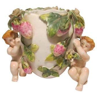 Portugal Porcelain Planter / Vase Vista Alegre Strawberries & Cherubs