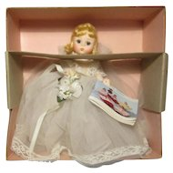 "Madame Alexander 8"" Blonde Bride Doll  W / Bouquet Garter Tag & Box"