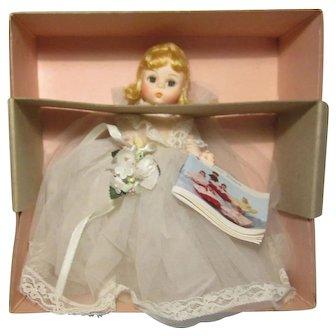 """Madame Alexander 8"""" Blonde Bride Doll  W / Bouquet Garter Tag & Box"""