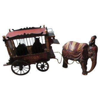 Wood Circus Wagon Greatest Show On Earth W / Elephant  & 2 Bears