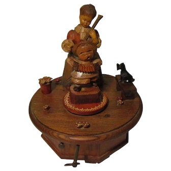 Vintage Wood Carved Music Box Thorens Anri Switzerland Lara's Theme