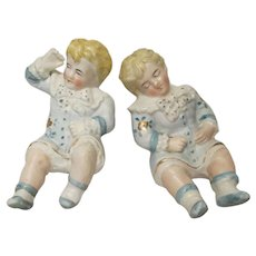 Pr Victorian Style Bisque Boys Hand Painted Signed with Wavy Red Line