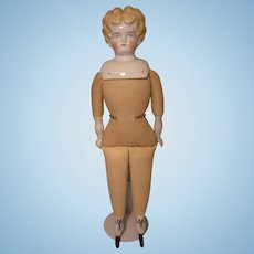 German Blonde China / Porcelain Shoulder Head Doll Cloth Body Is Stamped Germany