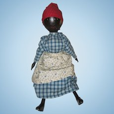 "Black Americana Mammy Style Doll All Wood Strung 12"" Possibly Artist is  ""Young"""