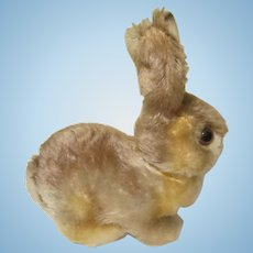 "Steiff Vintage Mohair Bunny Rabbit 4 7/8"" Long W / Button"