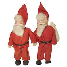 "Pair Vintage Santa Claus Dolls Celluloid Cloth & Wire 11 1/2""  Hungary"