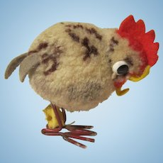 VINTAGE Steiff Pom Pom Wool Chicken W / Button & Tag Metal Legs