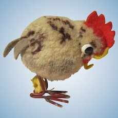 VINTAGE Steiff Pom Pom Wool Chicken W / Button & Tag Metal Legs