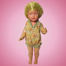 """Schildkrote Schutz-Marke Celluloid Blonde Haired Doll 11 1/4"""""""