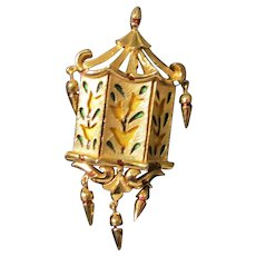 Trifari Gold Tone & Enamel Tulip / Pagoda Brooch / Pendant L'Orient series  1968