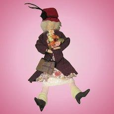 Vintage Carmen Manago Hazel The Old Lady Cloth Doll Signed on Leg