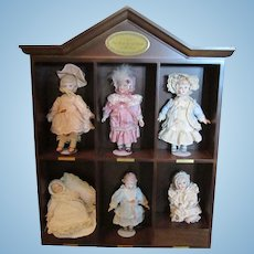 Georgetown Collection Best Loved Dolls of All Times 6 Dolls & Shelf W / COA