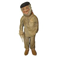"Bernard Ravca 16 1/2"" Old Fisherman 1930s  Cloth Doll France Tag"