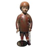 SARREID LTD Italian Wood Carved Folk Art Boy Doll / Figurine Mid-Century
