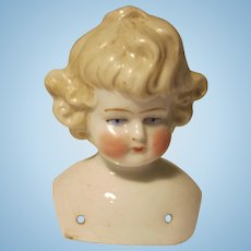 Blonde Molded Hair China Head ONLY German Doll