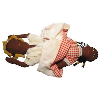"Topsy Turvy Flip Black & Black Cloth Rag Doll 13"""