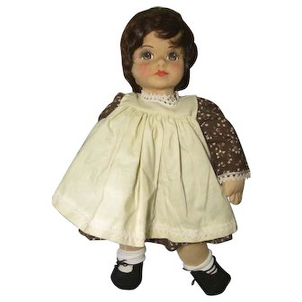 Stockinette Cloth Doll W / Human Wig Signed / Dated on Foot Beautiful Face