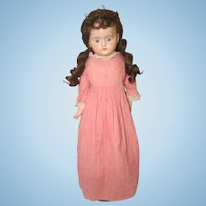 "Wax Over Paper Mache German 23"" Doll Cloth Body"