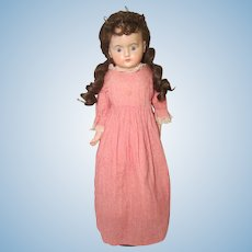 "Wax Over Paper Mache German 23"" Doll Cloth Body"