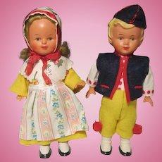 Pair Boy & Girl German Key Wound Dancing Celluloid Dolls